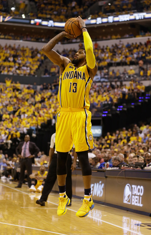 . Indiana Pacers forward Paul George (13) shoots against the Cleveland Cavaliers in the second half of Game 3 of a first-round NBA basketball playoff series, Thursday, April 20, 2017, in Indianapolis. The Cavaliers defeated the Pacers 119-114. (AP Photo/Michael Conroy)