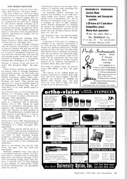 University Optics Sept 1968- showing their variety of Orthoscopic eyepieces.