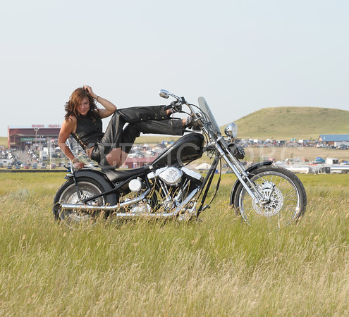 OUR BIKER PRODUCTIONS SALES GAL AT THE BUFFALO CHIP 2009