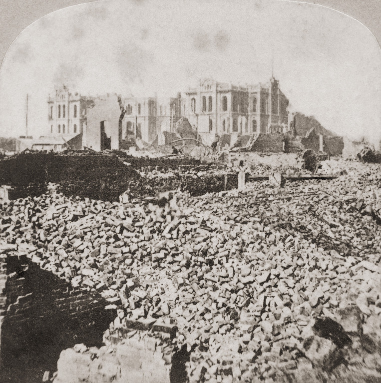 . The ruins of the courthouse in Chicago, after the Great Chicago Fire, 1871. Seen from the Chicago Tribune Building. (Photo by Otto Herschan/Hulton Archive/Getty Images)