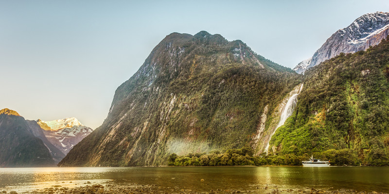 First boat in Milford Sound