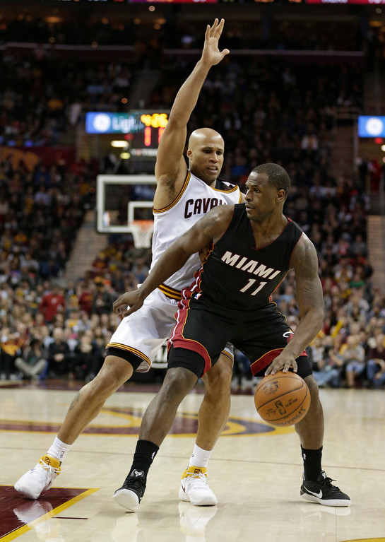 . Miami Heat\'s Dion Waiters (11) drives against Cleveland Cavaliers\' Richard Jefferson (24) in the second half of an NBA basketball game, Monday, March 6, 2017, in Cleveland. (AP Photo/Tony Dejak)