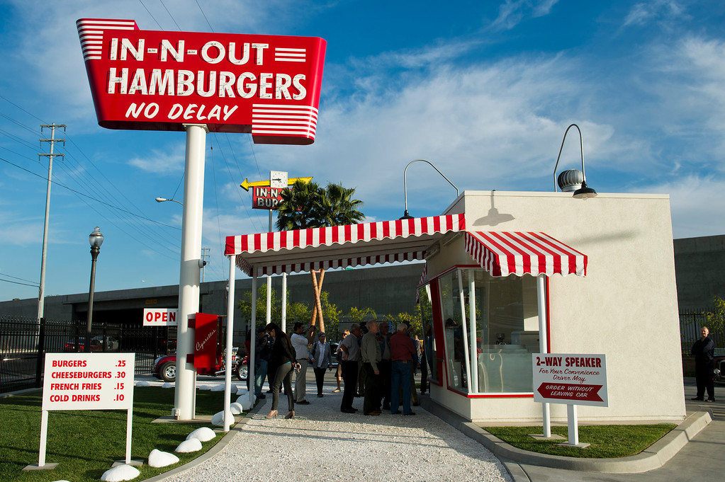 . Fans of the hamburger chain gather during the unveiling of a replica of the first In-N-Out hamburger stand in Baldwin Park on Tuesday, Feb. 26, 2014. (Photo by Watchara Phomicinda/ San Gabriel Valley Tribune)
