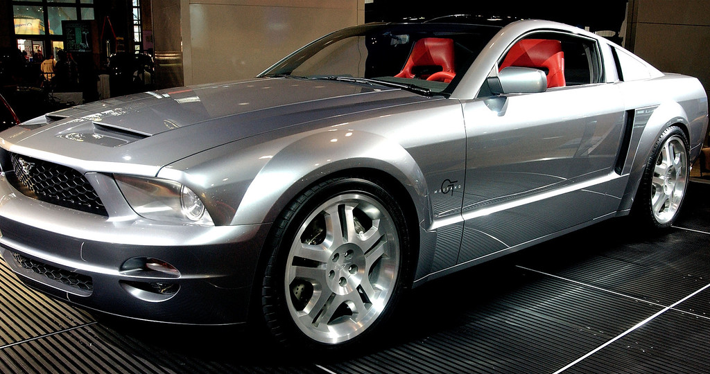 . A 2005 Silver Titanium Ford Mustang GT Coupe concept car is seen at the 2003 New York Auto Show April 16, 2003 at the Javits Center in New York City.  The Mustang GT is powered by a V-8 cast-iron engine mated to a belt-driven supercharger with liquid-to-air intercooler.  (Photo by Stephen Chernin/Getty Images)