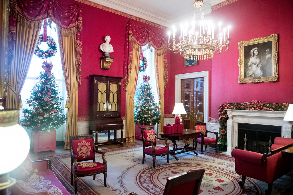 . The Red Room is decorated at the White House during a preview of the 2016 holiday decor, Tuesday, Nov. 29, 2016, in Washington. (AP Photo/Andrew Harnik)