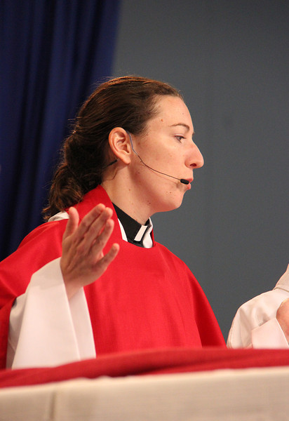 The Rev. Erin Evans presides during communion.