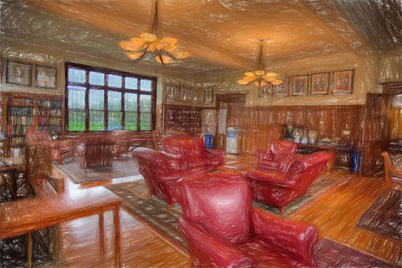Photo done in pencil relief of Headmaster's Study
