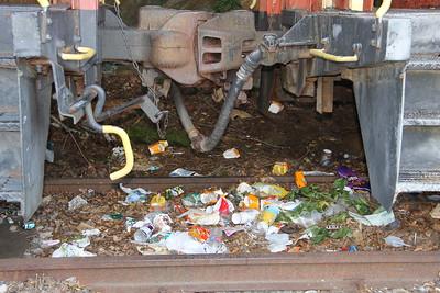 Litter between Trains, Train Station, Tamaqua (7-24-2014)