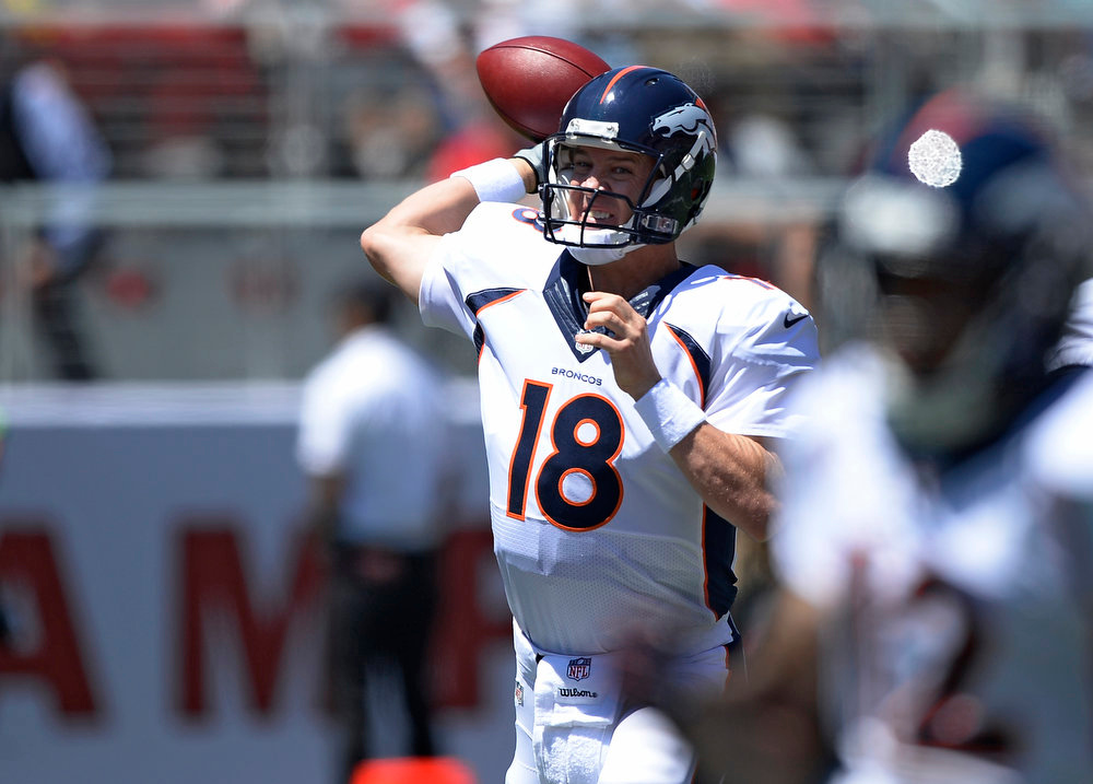 . Denver Broncos quarterback Peyton Manning (18) throws a pass during the first quarter against the San Francisco 49ers August 17, 2014 at Levi\'s Stadium. (Photo by John Leyba/The Denver Post)
