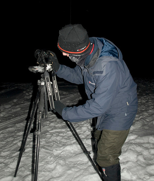 Me in action and almost frozen. Camera gear well and truly frozen.