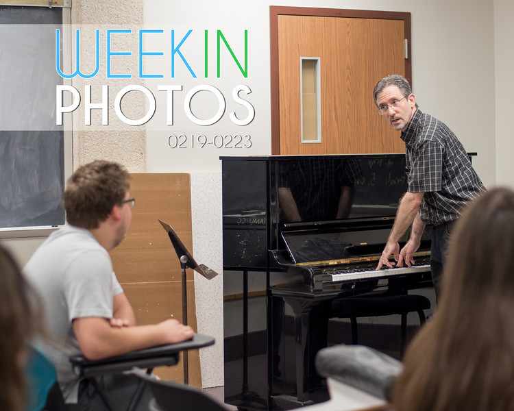 Dr. Michael Mazzatenta plays the keys on the piano for a class demonstration in Aural Training IV.