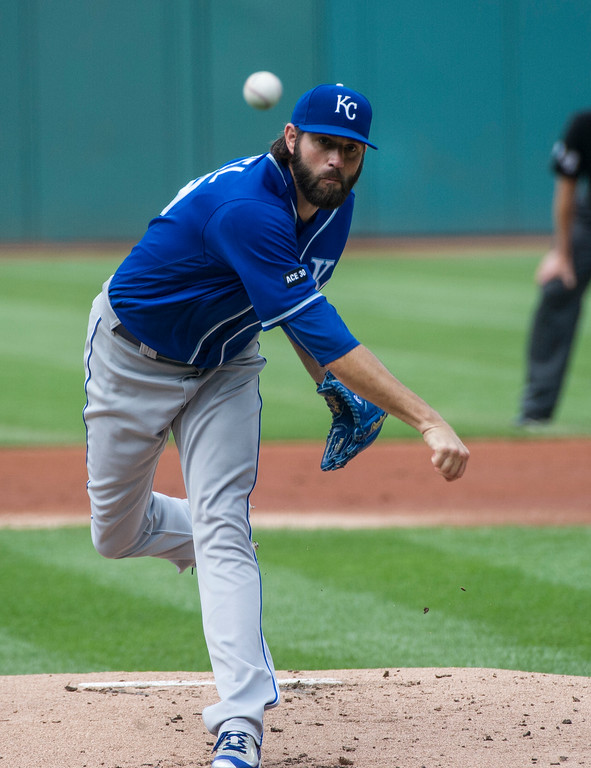 . Kansas City Royals starting pitcher Jason Hammel delivers to Cleveland Indians\' Francisco Lindor during the first inning of a baseball game in Cleveland, Saturday, Sept. 16, 2017. (AP Photo/Phil Long)