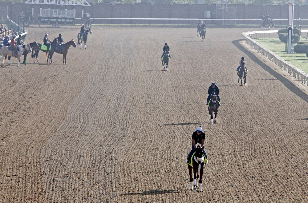 . Kentucky Derby hopefuls take to the track for a morning workout at Churchill Downs Tuesday, April 30, 2013, in Louisville, Ky. (AP Photo/Garry Jones)