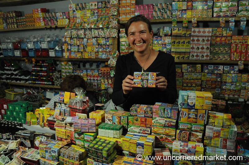 Posing with Miniature Food - Cochabamba, Bolivia