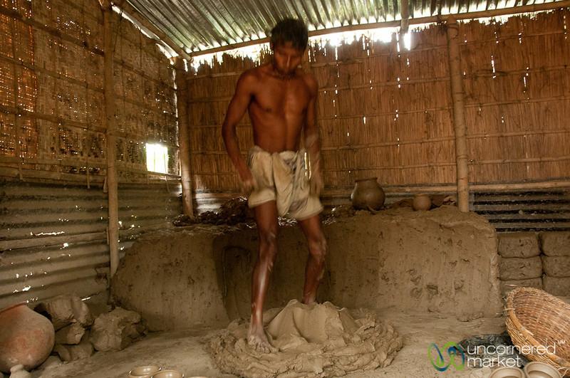 Working Mud for Pottery - Najirpur, Bangladesh