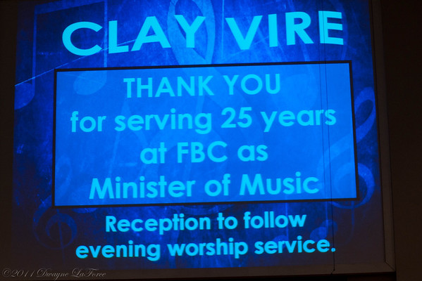Clay Vire Music Minister 25th Anniversary