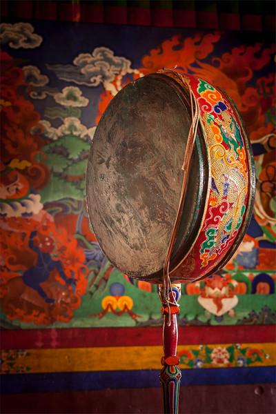 Gong (drum) in Spituk monastery. Ladadkh, India