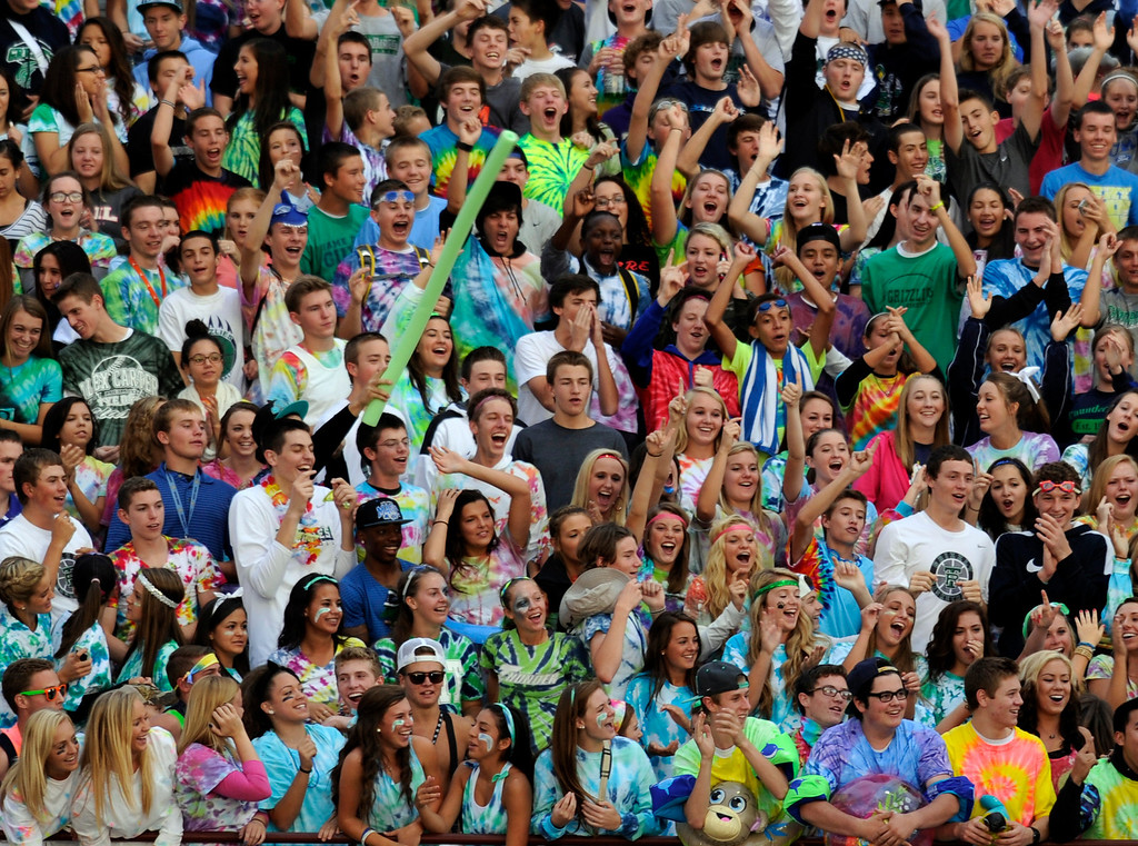 . HIGHLANDS RANCH, CO. - SEPTEMBER 13: ThunderRidge students showed their enthusiasm for the game of the week. The ThunderRidge High School football team hosted Grandview at Shea Stadium Friday night, September 13, 2013.  Photo By Karl Gehring/The Denver Post