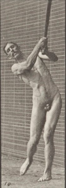 Nude man playing cricket, batting and drive