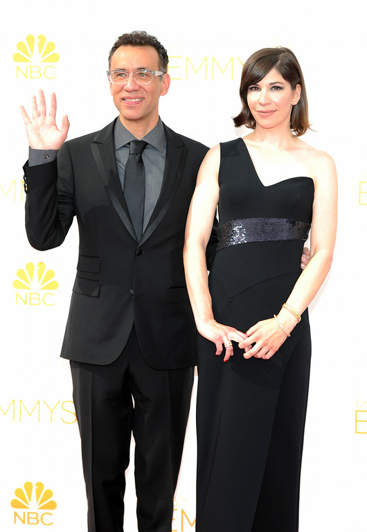 . Fred Armisen and Carrie Brownstein on the red carpet at the 66th Primetime Emmy Awards show at the Nokia Theatre in Los Angeles, California on Monday August 25, 2014. (Photo by John McCoy / Los Angeles Daily News)