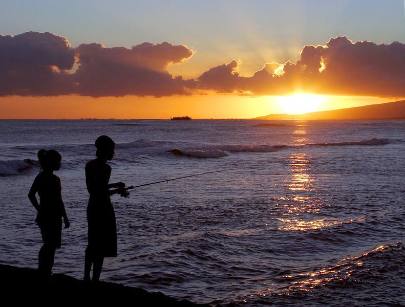 Sunset fishing, Hawaii.