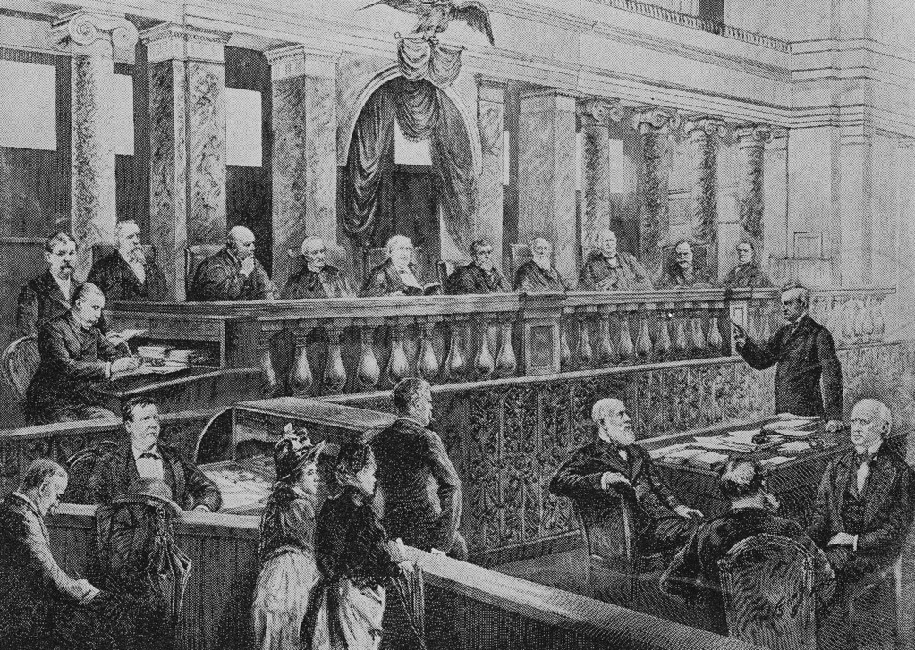 . This engraving shows the Supreme Court of 1888 hearing oral arguments,under Chief Justice Morrison R .Waite, center, which decided that the Constitution was broad enough to cover inventions the Founding Fathers never dreamed of.  (AP Photo)