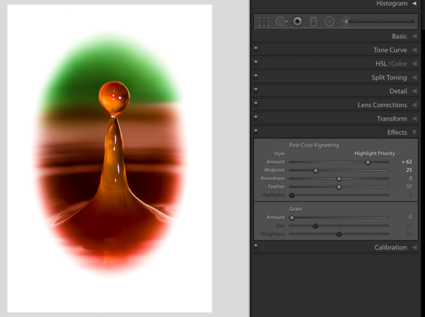 Moving the Midpoint Slider to the left to create a larger Vignette