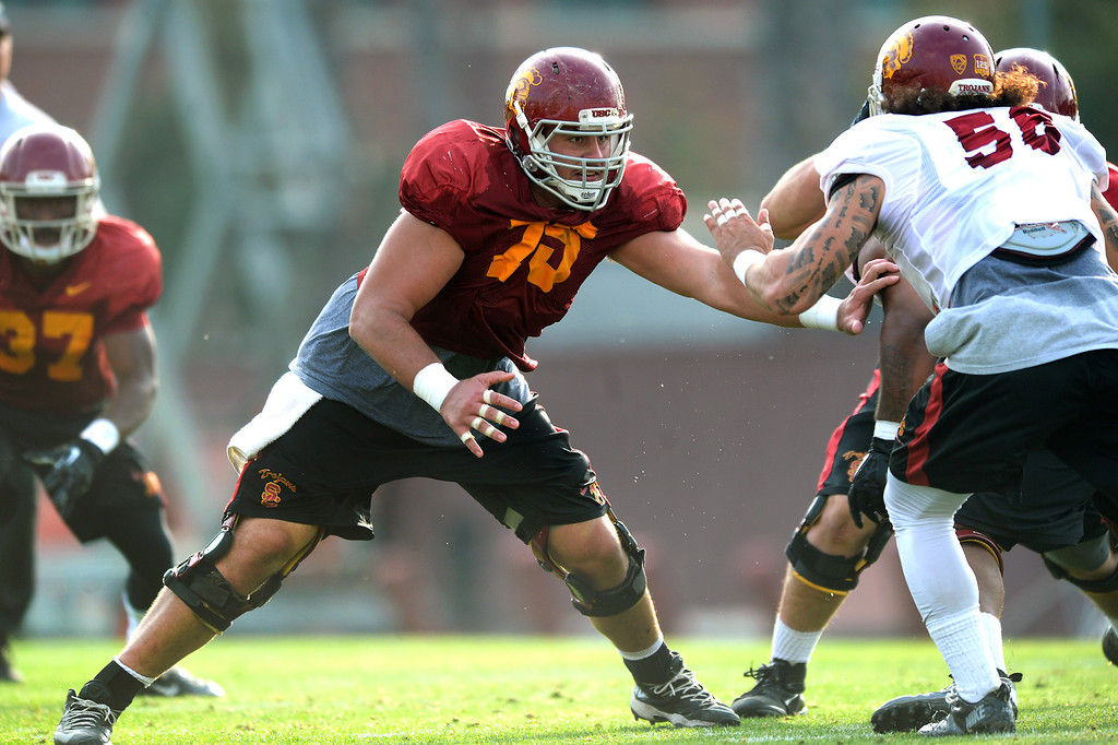 . USC OL Max Tuerk protects his gap during practice, Tuesday, March 25, 2014, at USC. (Photo by Michael Owen Baker/L.A. Daily News)