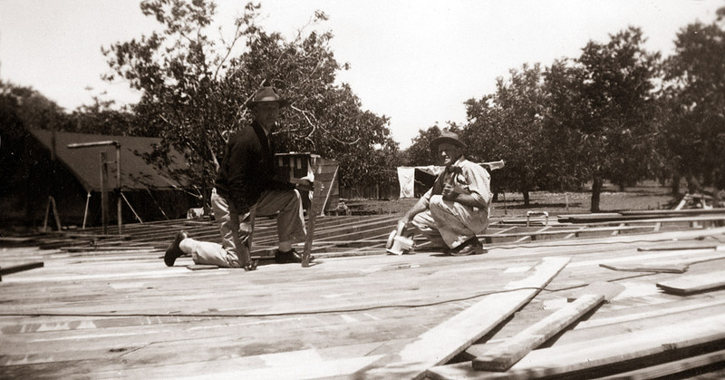 Larry and Elmer Hopkins as Elmer builds their house in Concord, California in 1950.