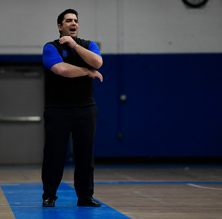 3/6/2019 Mike Orazzi | Staff Southington' John Cessario during Wednesday night's Division II Second Round State Boys Basketball Tournament with at Glastonbury High School.