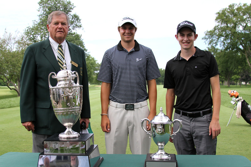 (Left to right) WGA Director Bob Roach with Nos. 2 and 1 ranked Amateurs Peter Uihlein and Patrick Cantlay.