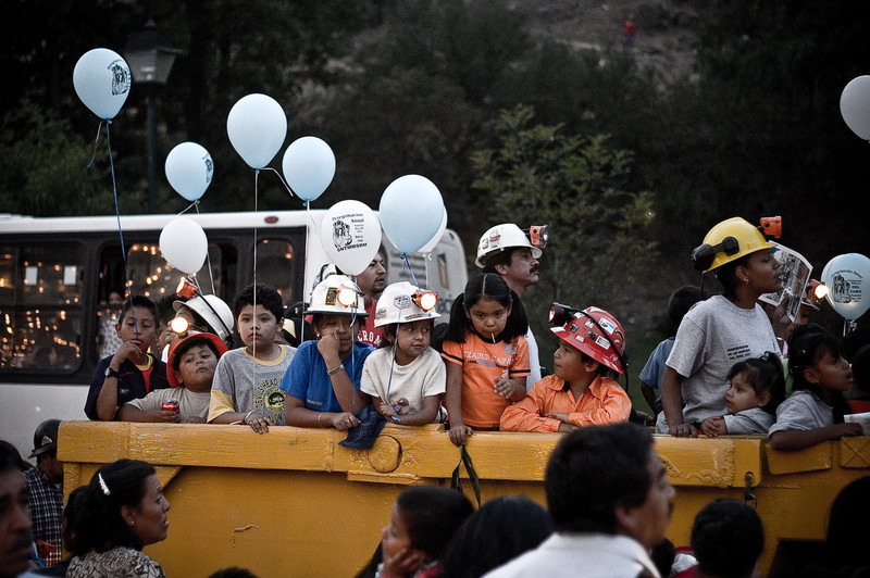The children of miners take part in the parade honoring their parents.