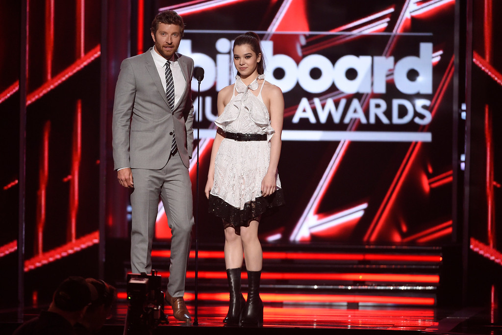 . Brett Eldredge, left, and Haille Steinfeld present the award for top country artist at the Billboard Music Awards at the MGM Grand Garden Arena on Sunday, May 17, 2015, in Las Vegas. (Photo by Chris Pizzello/Invision/AP)