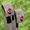 .79ctw Oval Padparadscha Sapphire Bezel Stud Earrings 14