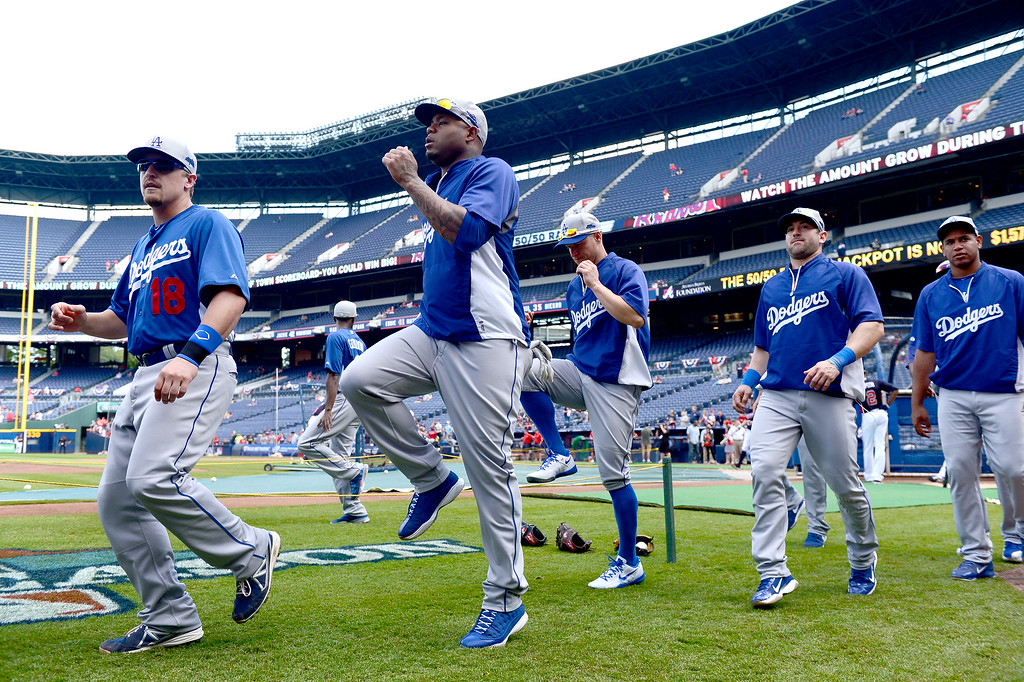 . The Los Angeles Dodgers get ready to play the Atlanta Braves in game 2 of the playoffs Thursday, October 3, 2013 at Turner Field in Atlanta, Georgia. (Photo by Sarah Reingewirtz/Pasadena Star- News)