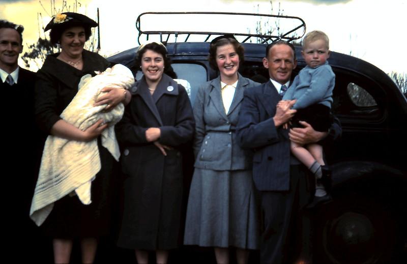 1960-9-25 (5) Nola 3 months with her Godparents, Parents & Trevor 3yrs 1mth.JPG