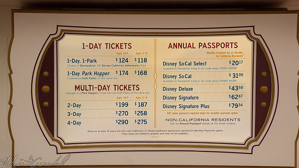 Disneyland Resort, Disneyland, Disney California Adventure, Ticket, Price, Prices