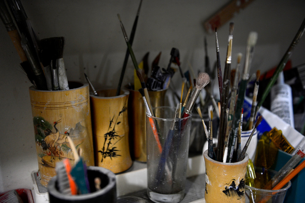 . Edgewater, CO. - January 28:  Artist Dede LaRue\'s brushes in her home studio in Edgewater, Colorado. January 28, 2013. (Photo By Joe Amon / The Denver Post)