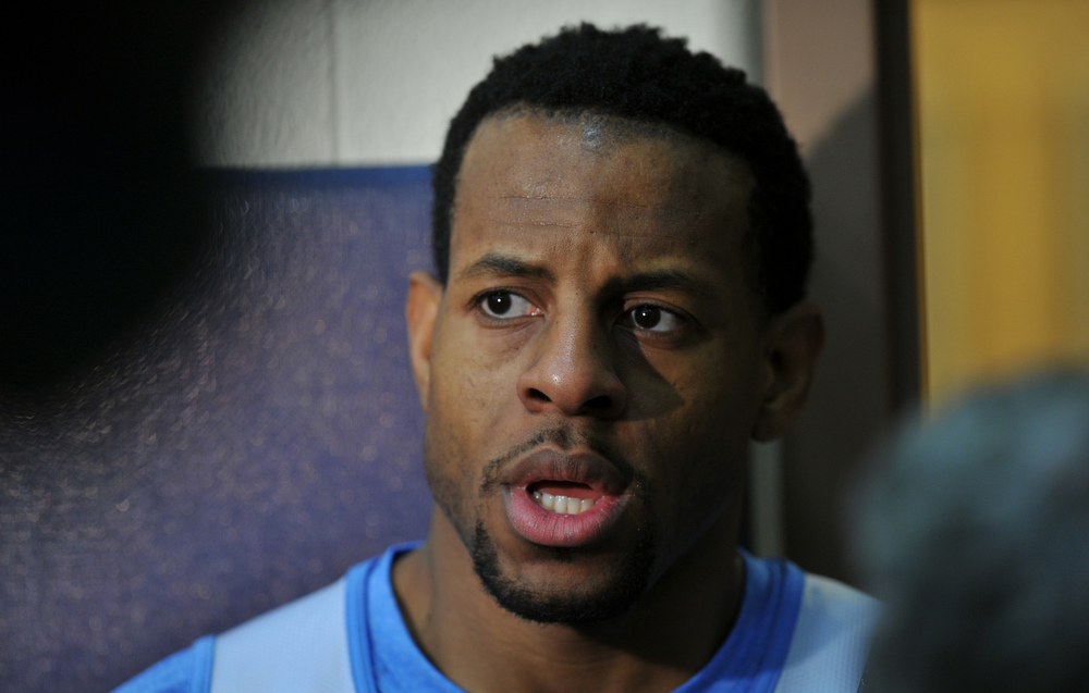 . Andre Iguodala of Denver Nuggets is answering question from media after the team practice for the 1st round of playoff game against Golden State Warriors at Pepsi Center. Denver. Denver, Colorado. April 19, 2013. (Photo By Hyoung Chang/The Denver Post)