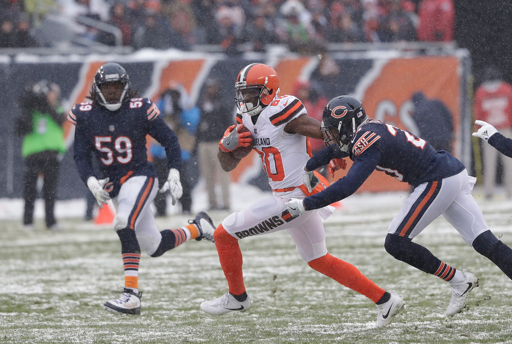 . Cleveland Browns wide receiver Ricardo Louis (80) runs after a catch against the Chicago Bears in the first half of an NFL football game in Chicago, Sunday, Dec. 24, 2017. (AP Photo/Charles Rex Arbogast)