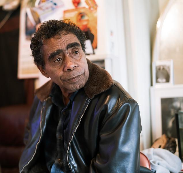 Indigenous Australian Elder wearing Leather Jacket