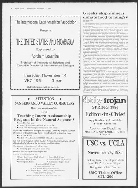 Daily Trojan, Vol. 100, No. 49, November 13, 1985