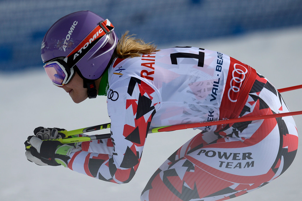 . BEAVER CREEK, CO - FEBRUARY 12: Michaela Kirchgasser of Austria competes during the ladies\' giant slalom. FIS Alpine World Ski Championships 2015 on Thursday, February 12, 2015. (Photo by AAron Ontiveroz/The Denver Post)