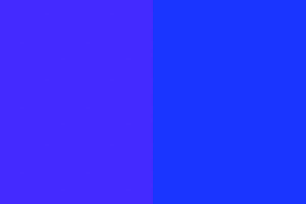 Shades of blue (RGB 69,42,255 left, RGB 26,53,255 right)