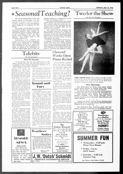 Summer News, Vol. 11, No. 7, July 16, 1956