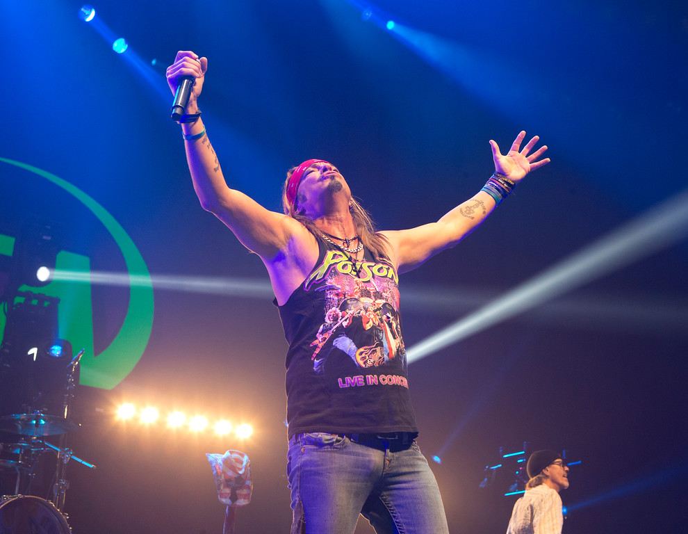. Bret Michaels of the band Poison performs in concert at the Royal Farms Arena on Friday, April 14, 2017, in Baltimore. Michaels will perform Dec. 29 at the Hard Rock Rocksino at Northfield Park. For more information, visit www.hrrocksinonorthfieldpark.com. (Photo by Owen Sweeney/Invision/AP)