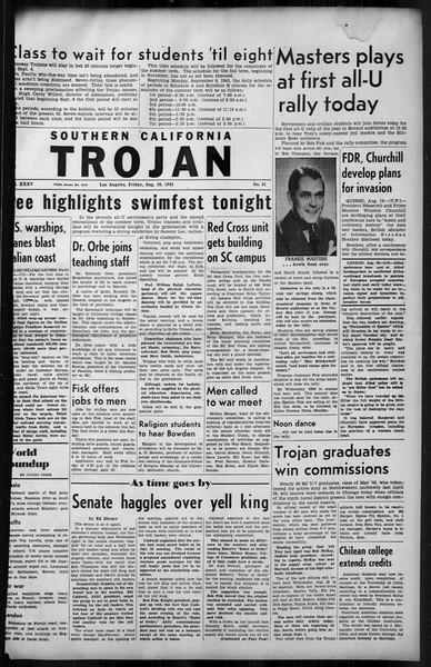 Southern California Trojan, Vol. 35, No. 21, August 20, 1943