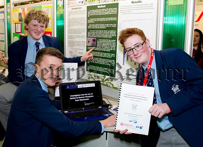 BT Young Scientist and Technology Exhibition 2015.  Pictured were: Jamie Brannigan, Adam Toner and Adam Connolly, from St. Colman's College Down, with their project ' An investigation into the use of nettles to recovery phosphate from waste water'.  Picture Colm Mahady / Copyright 2015 Fennell Photography