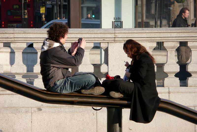 Tourists. Trafalgar Square, London