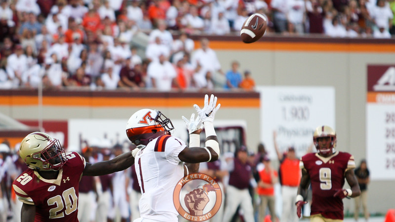WR Isaiah Ford (1) looks up to catch another pass for a long Virginia Tech first down. (Mark Umansky/TheKeyPlay.com)